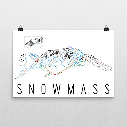 Snowmass Poster, Snowmass Ski Resort Poster, Snowmass Art Print, Snowmass Trail Map, Snowmass Trail Map Art, Snowmass Wall Art Poster, Snowmass Colorado Gift - Size 24