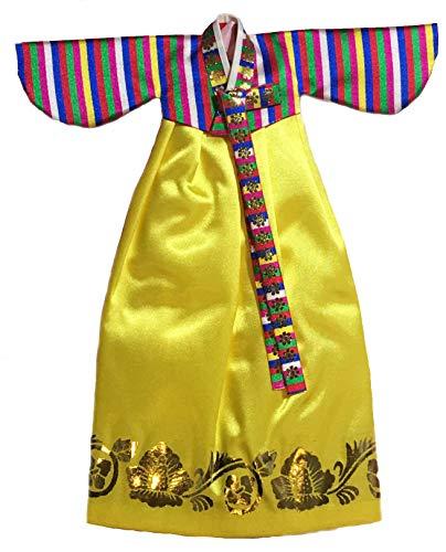 Korean Traditional Dress - Roots & Wings Korean Traditional Hanbok Dress fits Barbie Dolls (Yellow)