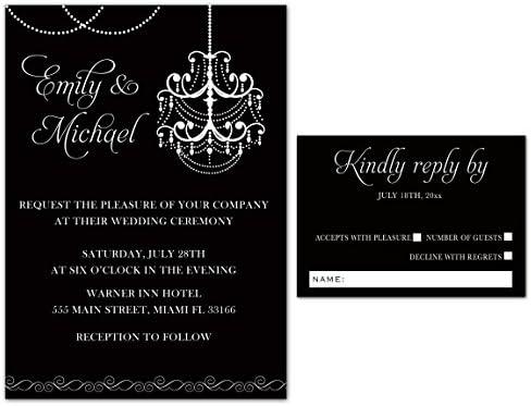 Amazon 100 Wedding Invitations Gothic Chandelier Black White Elegant Design Envelopes Response Cards Set Kitchen Dining