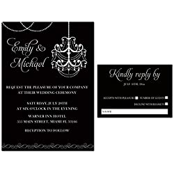 100 Wedding Invitations Gothic Chandelier Black White Elegant Design + Envelopes + Response Cards Set