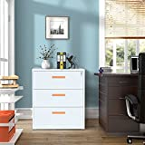 ModernLuxe Metal Lateral File Cabinet with Lock (White-Orange, 3-Drawers: 35.4W×17.7D×40.3H)