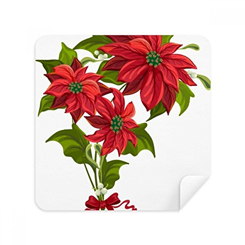 Christmas Flower Poinsettia Bouquet Red Glasses Cleaning Cloth Phone Screen Cleaner Suede Fabric -