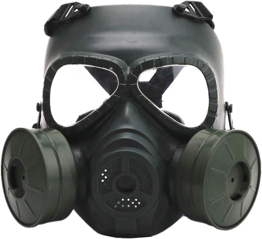 CARACHOME Mascara Gas con Ventilador Doble,Explorer Mascara Proteccion,Mascara Tactica para Exteriores con Correa Ajustable, Adecuada para BB Gun CS Cosplay Disfraz De Paintball Caza,Green