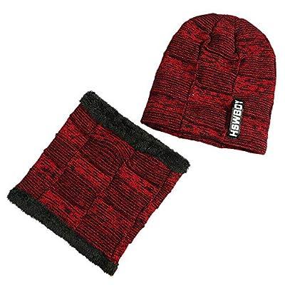 Man Women 2-Pieces Villus Thicker Winter Beanie Hat Scarf SetKnit Hat Thick Knit