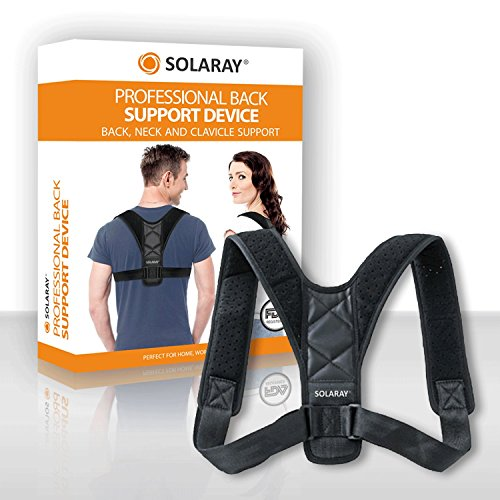 Solaray Back Support Brace- Neck and Spinal Clavicle Brace for Men and Women - Best Ergonomic Relief for Pain, Fracture, Scoliosis, Sports Injury and Home Office Use - Adjustable