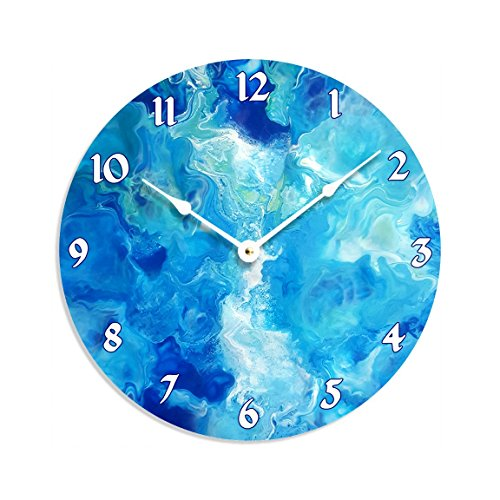Contemporary abstract fluid acrylic painting design 10 inch wall clock. Full of blue and white colors.