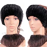 Genuine Winter and Autumn Mink Fur Headband Women Winter(black)