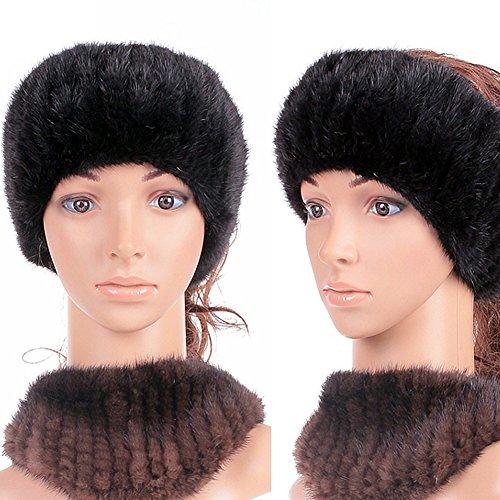 Genuine Winter and Autumn Mink Fur Headband Women Winter(black)