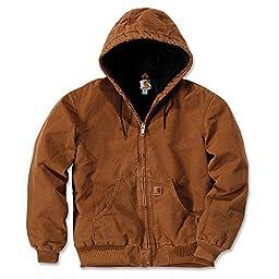 Carhartt Men\'s Quilted Flannel Lined Sandstone Active Jacket J130,Carhartt Brown,Large