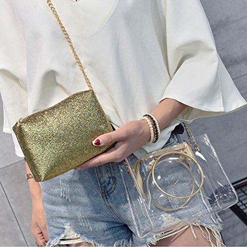 Transparent ViewHuge Bag Silver PVC with Chain Pocket Interior Handbag Crossbody Shoulder HqX6PRq4Wf