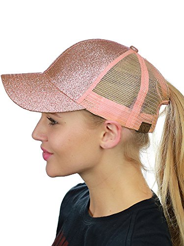 Rose Trucker Hat - C.C Ponycap Messy High Bun Ponytail Adjustable Glitter Mesh Trucker Baseball Cap, Rose Gold