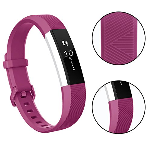 Tobfit 4 Pack Bands Compatible with Fitbit Alta/Alta HR Bands, Soft Sport Silicone Replacement Wristbands for Women Men (Small, Champagne Gold/Silver/Gray/Fuchsia)