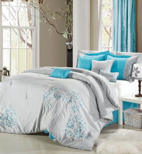 Chic Home 8-Piece Floral Embroidered Comforter Set, Queen, Gray and Blue (Gray Comforter Blue And)