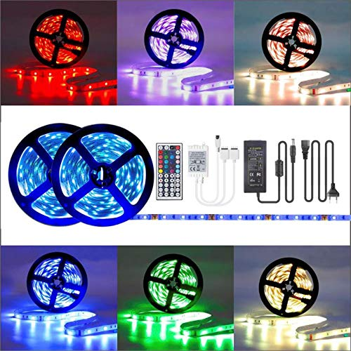 LED Strip Light 32.8ft, 16 RGB LED Strips Kit with remote control dimming self-adhesive, IP65 waterproof LED Light with 12V driver and corner connector, connecting cable, DIY Christmas Holiday Home Bar Party Decoration Belinks