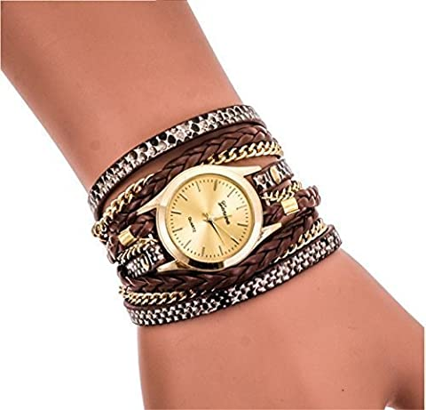 Ledhill Geneva Leopard Fashion Golden Chain Woven Strap Bangle Wrist Watch (BROWN) (Brown Leather Geneva Watch)