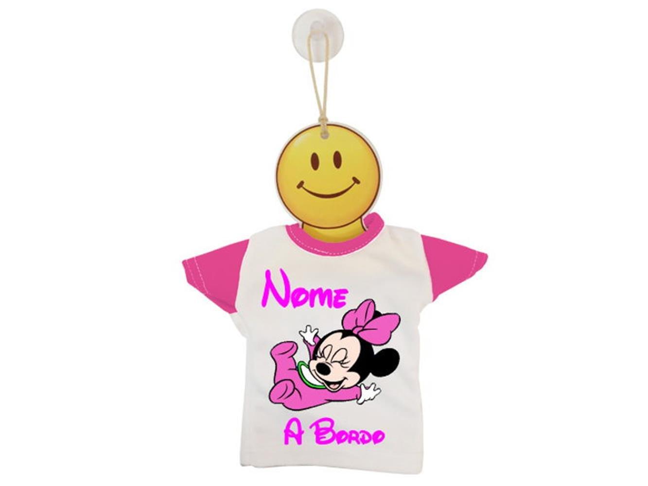 Mini t-shirt pour bébé à bord bicolore Motif bébé Minnie Azzurro / Bianco ATELIER DEL RICAMO
