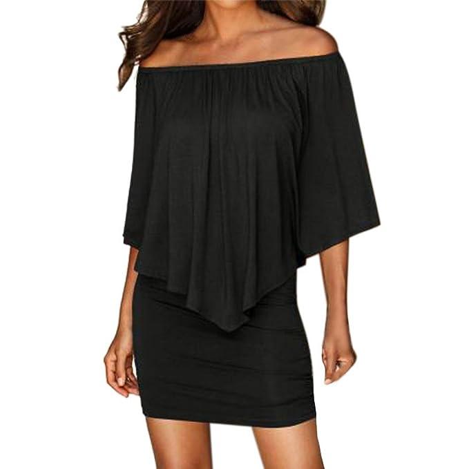 Ansenesna Damen Kleid Kurz Sommer Elegant Off Shoulder Mini Abendkleid  Party Retro Trägerlos Festlich Partykleid Schwarz e69e3d8ee7
