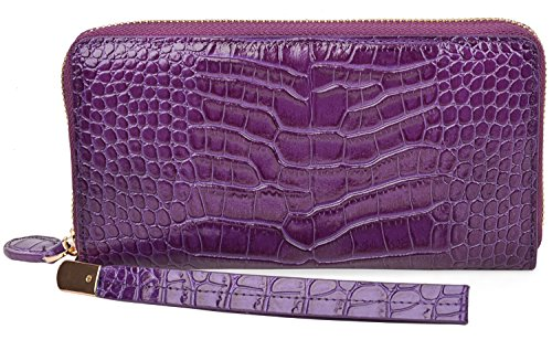 PIJUSHI Womens Clutch Wallet Crocodile Leather Long Wallet Card Holder Purse 8012(One Size, Purple Croco)