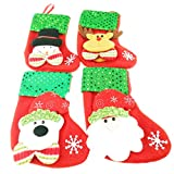 Funny Cute Hanging Sequins Christmas Theme Socks Snowman Santa Claus Christmas Elk Bear Socks Set of 4 Pieces As Christmas gift bags Candy bags Christmas tree Home Window Door Decorations.