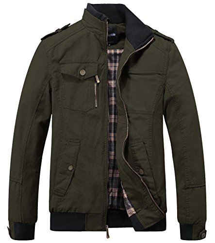 Wantdo Men's Military Cotton Stand Collar Windbreaker Jacket Small Army Green (Jacket Barbour Mens)