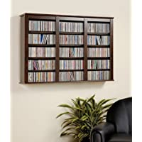 Everett Espresso Wall Mounted Hanging Media Storage Cabinet CD DVD Storage Rack
