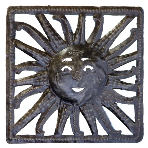 (Le Primitif Galleries Haitian Recycled Steel Oil Drum Outdoor Decor, 8 by 8-Inch, Sun in Square)