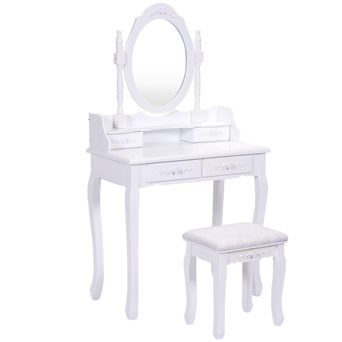 Giantex Vanity Wood Makeup Dressing Table Stool Set Bedroom with Mirror (Round Mirror, 4 Drawers)