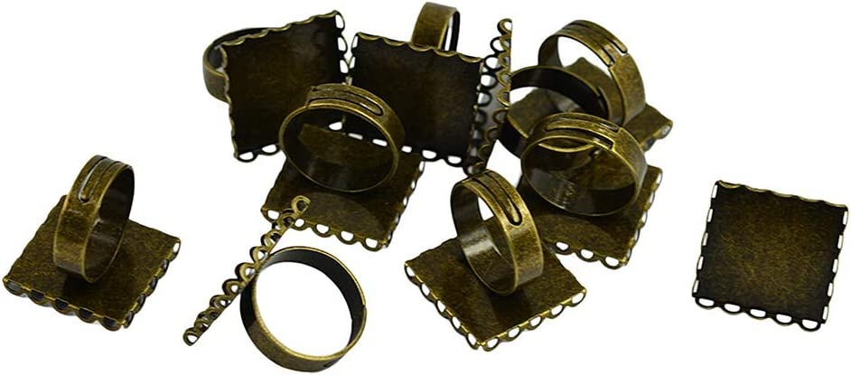 chiwanji 10pc Adjustable Ring Blanks 20mm Square Ring Bezel Cabochon Rings Settings