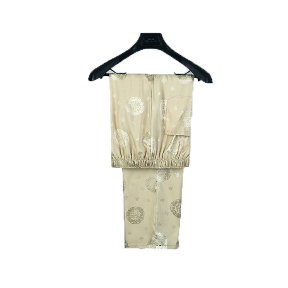 Tang Suit Men Traditional Chinese Clothing Suits Hanfu Cotton Short sleeve shirt coat Mens Tops and pants (XL, Beige) by Airuisky (Image #3)