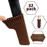 Chair Leg Floor Protectors Chair Leg Socks, Ravmix 32PCS Knitted Elastic Non-Slip Rubber Strips Furniture Socks Covers Set Chair Leg Floor Protectors, Fit Square & Round Furniture Feet Girth from 2.7'' to 7'', Chocolate Brown