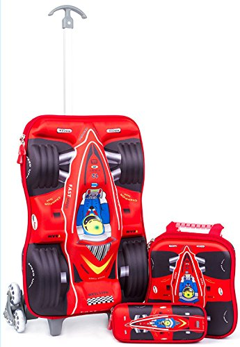 Childrens Luggage Set with Wheels Kids Trolley 3D Hard Shell Suitcase Carryon for School Boys Girls - Racing Car (Red)