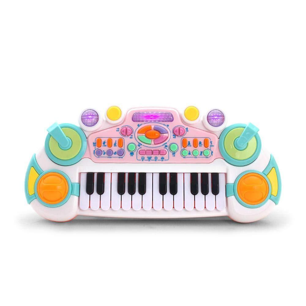 DYMAS Mini Tastiera Multifunzione Musica Giocattolo Bambino con Strumento di insegnamento educativo precoce dei Bambini Microfono