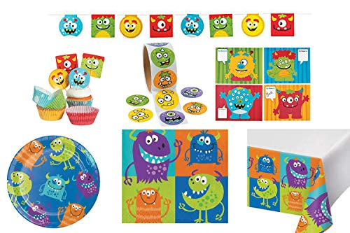 Monster Birthday Party Supplies- for 16 Includes Monster Party Plates, Napkins, Banner, Cupcake Picks and Wrappers, Stickers and Decorate a Monster Activity 268 Pieces Monster Party Decorations Party Favors -