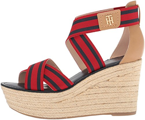 6181bc80 Tommy Hilfiger Womens Theia Espadrille Wedge Sandal, Red/Navy, 6 ...