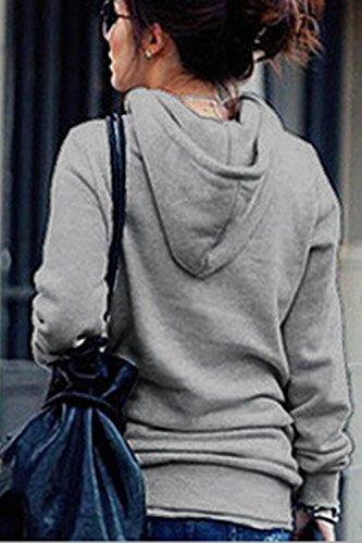 La Mujer De Manga Larga Invierno Cálido Básico Simple Suelta La Tapa De La Cremallera Sudaderas Cuello Alto Chaqueta Con Bolsillos Grey
