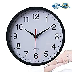 Black Silent Wall Clock Non-ticking Clock 10 Battery Operated Round Easy to Read Decorative Wall Clock For Home/Office/School/Hotel