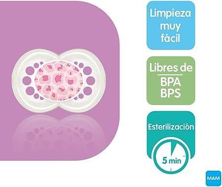 MAM First Steps Set, regalos para bebé (+0), canastilla con 2 biberones anticólicos Easy Start (160/260 ml) y 4 chupetes Original de silicona (2 x 0-2/2 x +6 meses), NIÑA (Rosa)