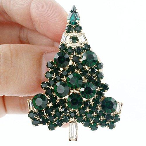 Ever Faith - Broche Arbre de Noël Art Déco Ton-Or Vert Autrichien Cristal Cadeau A02355-11