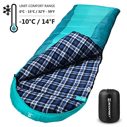 Bessport Sleeping Bag Winter | Flannel Lined | Compact and Lightweight 4 Season Sleeping Bag for Adults | 14℉/-10℃ Extreme | Perfect for Camping, Hiking, Backpacking (Green&Blue)