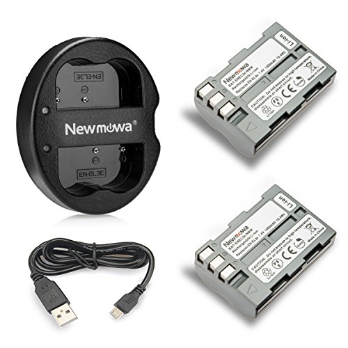 Newmowa EN-EL3e Replacement Battery (2-Pack) and Dual USB Charger for Nikon EN-EL3e and Nikon D50, D70, D70s, D80, D90, D100, D200, D300, D300S, D700