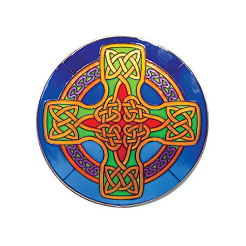 Glass Serenity Suncatcher - Round Stained Glass Hanging 16cm Panel With Blue Celtic Cross Design