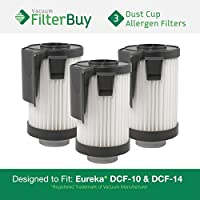 3 - FilterBuy Eureka DCF-10 & DCF-14 Washable and Reusable Compatible Filters. Designed by FilterBuy to Replace Eureka Part #s 62396 (DCF10) & 62731 (DCF14).