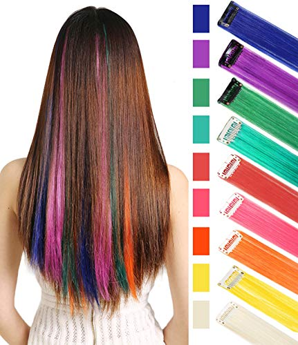Rhyme CCW 9PCS Wig Pieces for America Girls and Dolls Clip in/On Colored Hair Extensions(Rainbow Color) ()