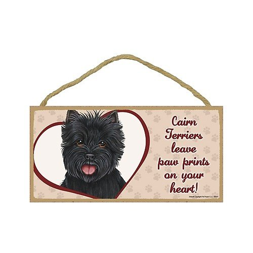 Cairn Terrier (Black) - leave paw prints on your heart Door Sign 5''x10''