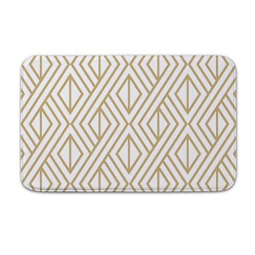 DKISEE Indoor Outdoor Entrance Rug Floor Mat Bathmat Armada Diamonds Metallic Gold Doormat