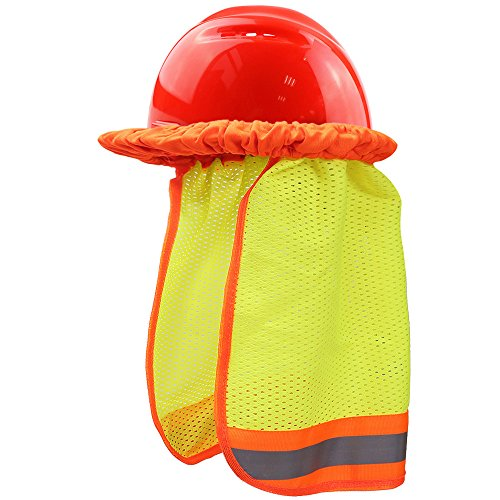 Premium Neck Sun Shield for Hard Hats: UV Protection, Debris Protection, Cooling, Hi-Vis Mesh & Reflective Stripe- Great For Construction, Road-Side Safety, and More Hi Hat System