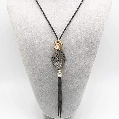 Chain Necklaces - Fashion Gold and Silver Big Statement Necklace Maxi Colar Chain Long Necklace Tassel Leaf Pendant Necklace Women - by TAFAE - 1 PCs
