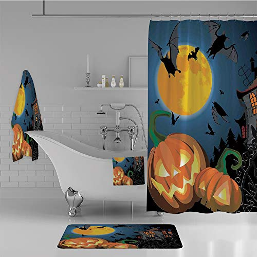 iPrint Bathroom 4 Piece Set Shower Curtain Floor mat Bath Towel 3D Print,Halloween Haunted House Party Theme Decor Trick,Fashion Personality Customization adds Color to Your Bathroom. -