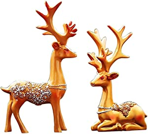 Amosfun 1 Pair of Christmas Reindeer Resin Sculpture Deer Figurine Statue Home Office Decor Statues Family Craft Ornament (Golden)