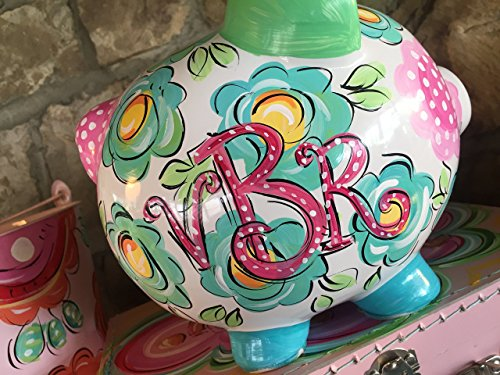 Piggy Bank for girls - Hand Flower Nose Painted